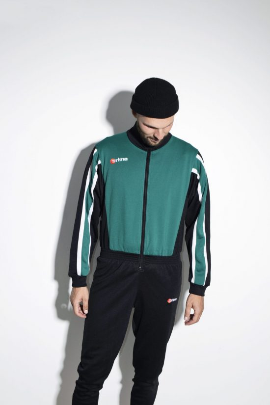 Vintage men's 80s tracksuit green black