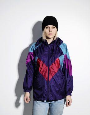 80s retro windbreaker women shell jacket