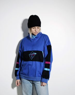 80s retro pullover quarter 1/4 zip ski jacket