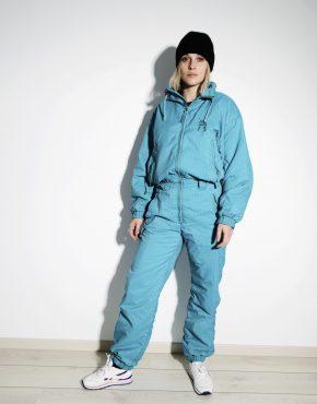 80s retro ski suit women S size blue