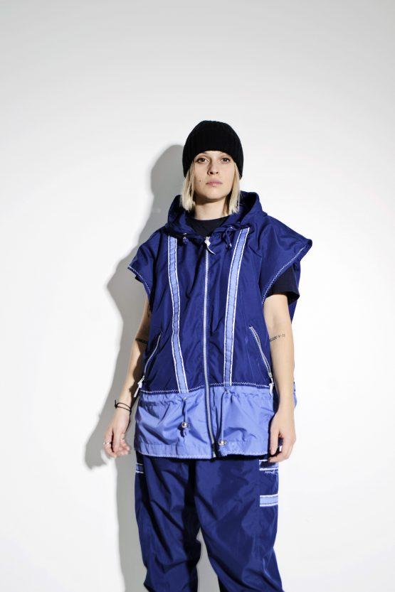 90s blue sports wind suit L