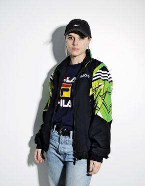 Adidas Originals 90s jacket black green M
