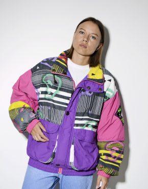 80s vintage retro ski jacket multi women