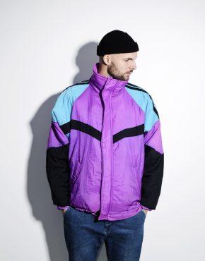 Vintage ski jacket men multi color