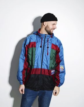 80s retro windbreaker men shell jacket