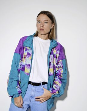 80s vintage multi color crazy shell jacket