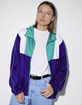 90s retro color blocking sports jacket
