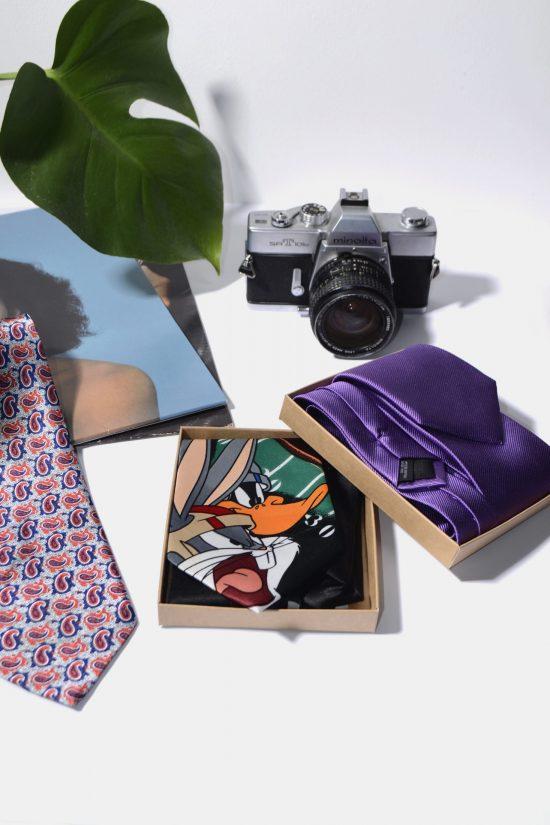 Retro 60s modern necktie for men black