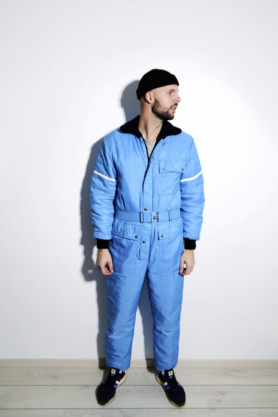 Vintage blue ski suit mens