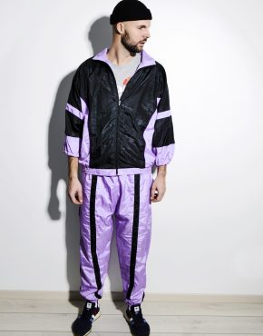Vintage 80s tracksuit set men purple colour