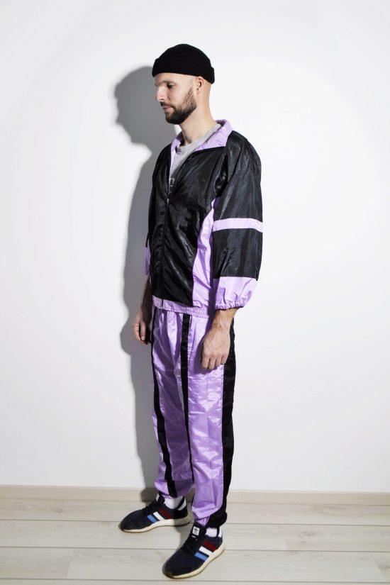 Vintage 80s tracksuit set men purple colour