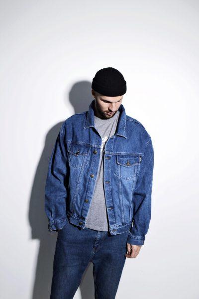 Mens denim jacket in dark wash blue