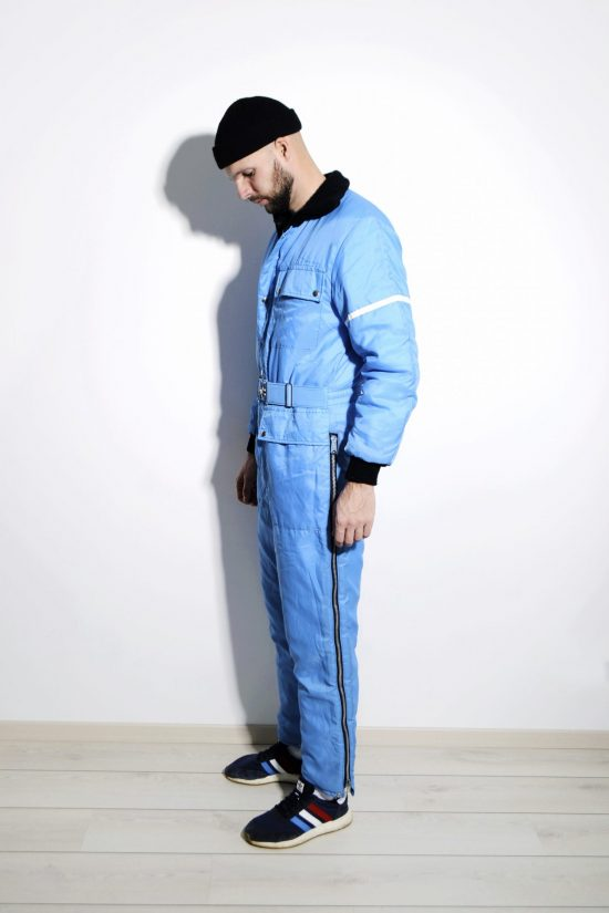Vintage blue ski suit mens