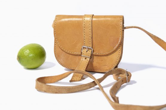 80s Vintage Brown Leather Crossbody Bag