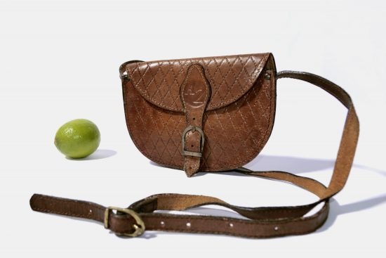 80s Retro Brown Leather Crossbody Bag