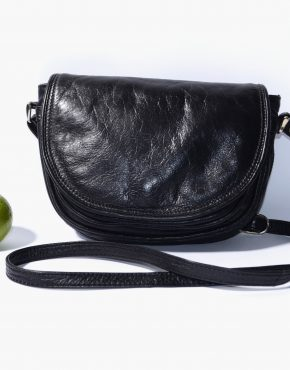 Vintage Black Leather Crossbody Bag