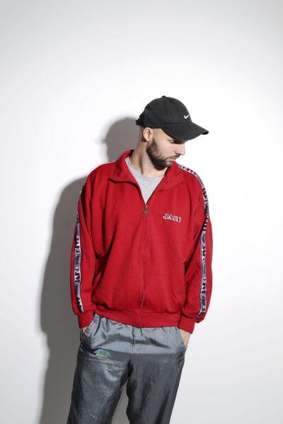 Vintage sweatsuit top men red jacket