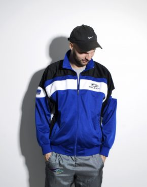 Vintage blue tracksuit top sports jacket