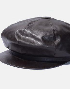 Vintage leather Newsboy Cap for men black