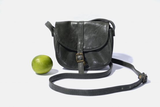Retro Crossbody Bag Womens Gray Leather