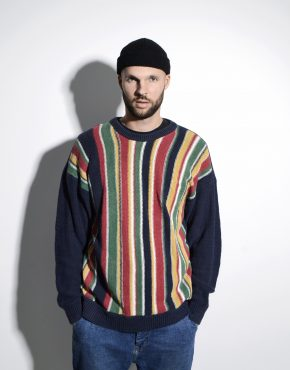80s vintage sweater multi striped pattern