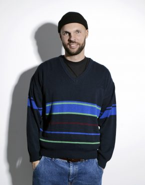 90s vintage sweater mens striped pattern
