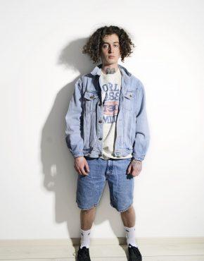 Mens 80s vintage denim jacket blue