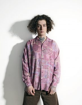 90s abstract long sleeve shirt pink violet