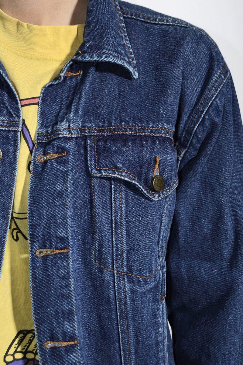 70s womens denim jacket dark blue