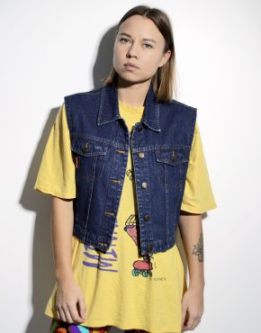 Vintage denim vest women dark blue