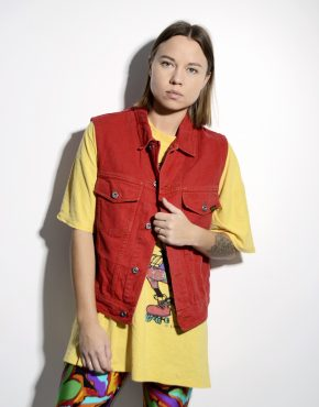 Vintage denim vest gilet red