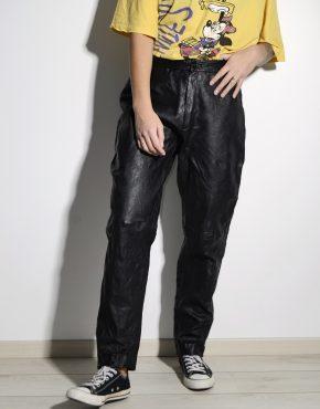 Vintage 80s leather pants black