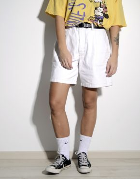 High waist mid length denim bleached shorts