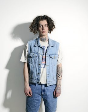 80s mens denim vest blue