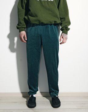 Retro green velour track trouser men