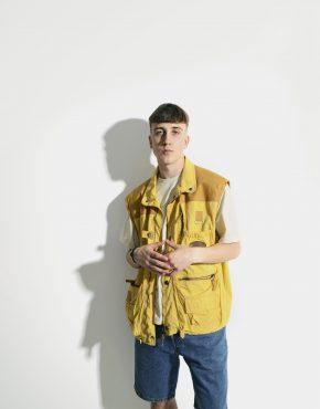 90s yellow cargo vest