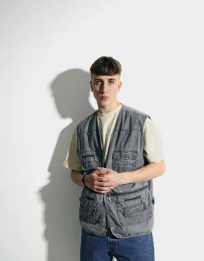 90s mens utility vest grey