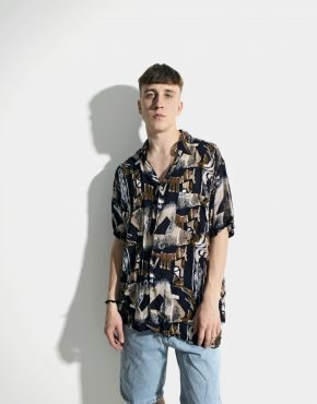 90s abstract patterned shirt men