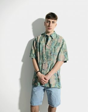 90s pattern cotton shirt mens