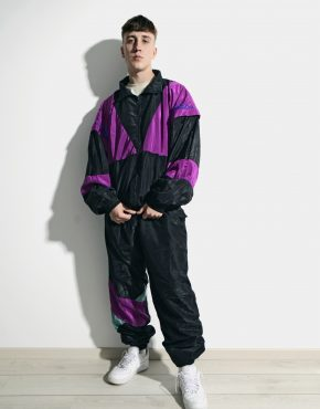 Vintage 90s men multi colour block tracksuit set