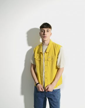 Vintage cotton vest gilet unisex yellow