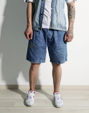 Skater long length denim shorts