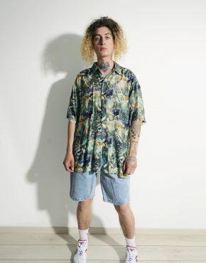 Abstract 90s pattern shirt men multi