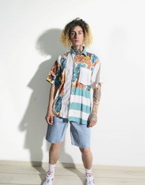90s printed multi colour men shirt