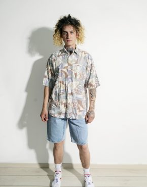 90s pattern pastel shirt men