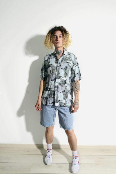 90s retro abstract multi colour shirt mens