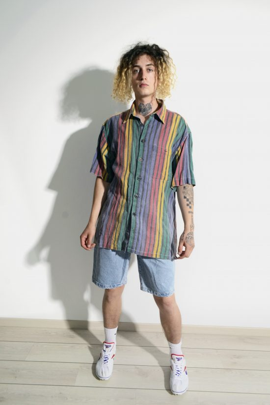 Vintage summer striped shirt men