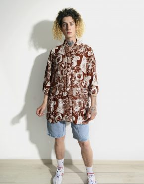 80s floral abstract mens shirt