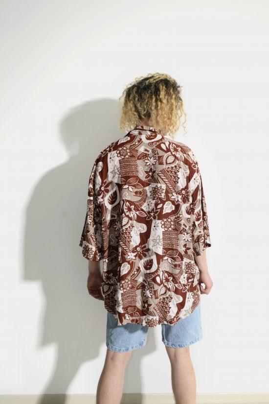80s floral abstract mens shirt