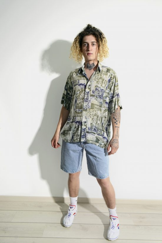 90s casual abstract shirt mens